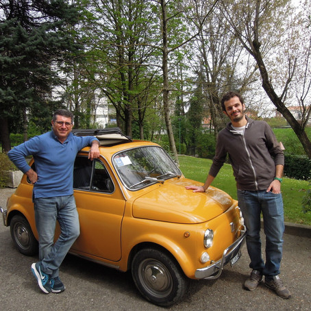 Driving around Bologna in a Fiat 500
