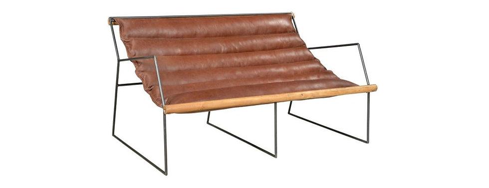 Iron Leather Two Seater Sofa