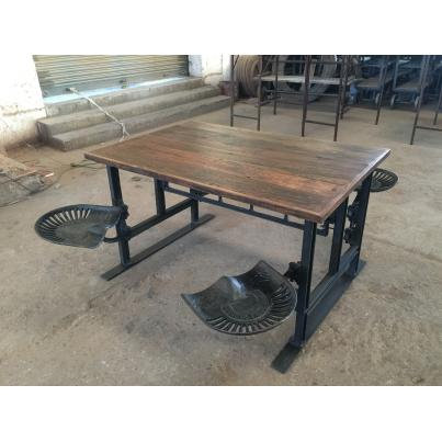 Four Seater Iron and Wood Industrial Dining Table with Adjustable tractor seat