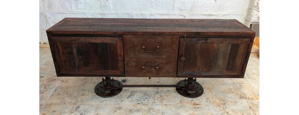 Reclaimed Wood and Metal Adjustable Sideboard