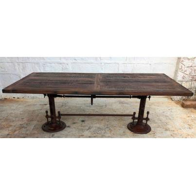 Reclaimed Wood and Metal Adjustable Dining Table