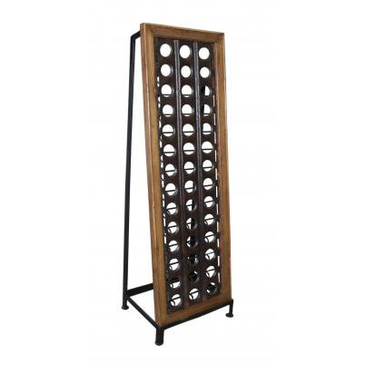Iron and Wood Industrial Style 42 Bottle Wine Rack