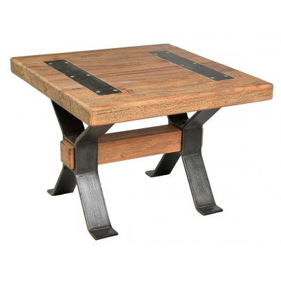 Reclaimed Timber End Table with Cross Detail Iron Legs