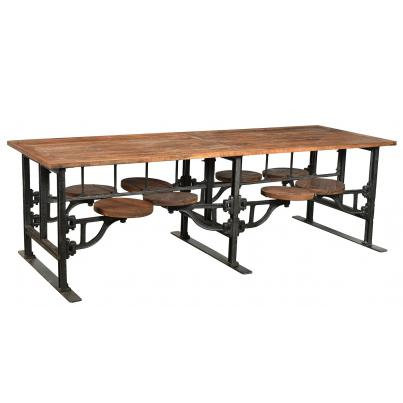 Eight Seater Iron and Wood Industrial Dining Table with Adjustable Swivel Seats