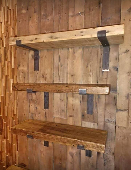 Rustic reclaimed wood shelves