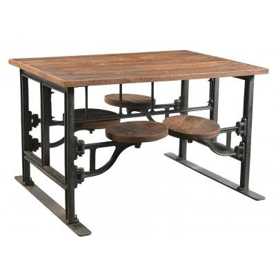 Four Seater Iron and Wood Industrial Dining Table with Adjustable Swivel Seats