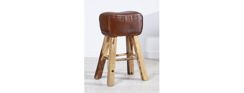 Leather Curved Bar Stool