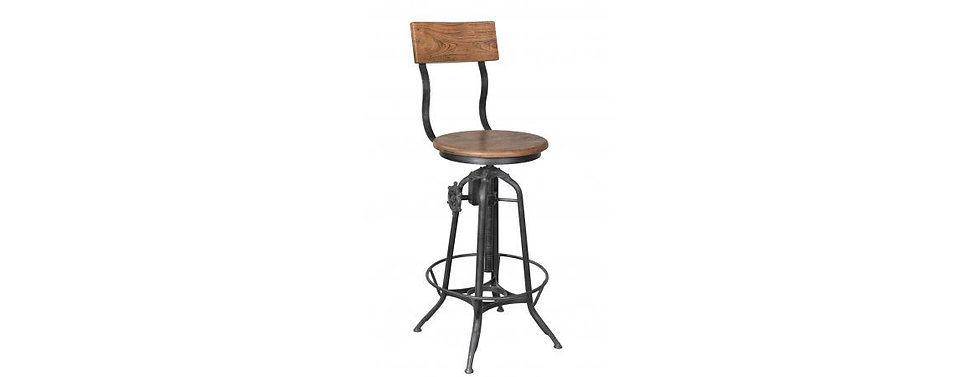 Iron And Wood Industrial Bar Stool