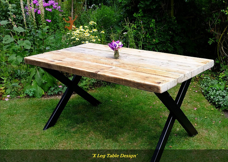 X LEG METAL FRAME DINING TABLE OR DESK