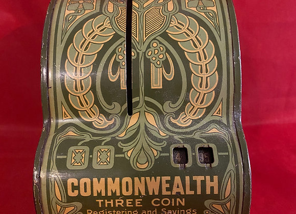 Antique 1915 Commonwealth Three Coin Register Bank
