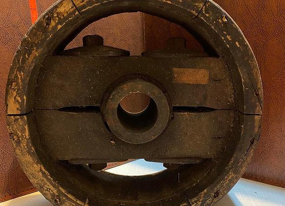 Antique Wood Flat Belt Pulley Wheel