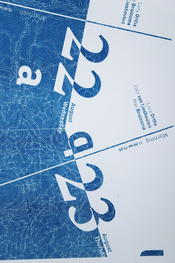 Qua Aqua Book Design Program Book Printed in RisoGraph with Blue and White Typography in Pro Contra Composition by Demi Horsman