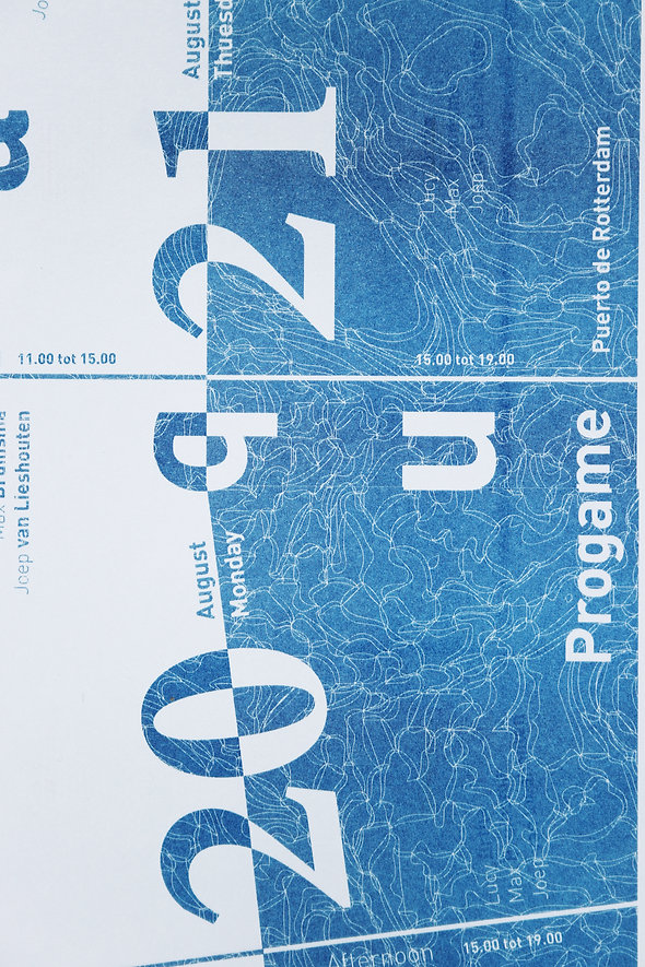 Qua Aqua Program Book Printed in Risograph with Pro Contra Typography and Blue and White Composition by Demi Horsman