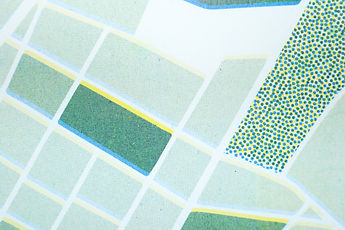 Risoprint Map Detail of Raster Risograph Yellow Green and Bleu Structures and Patterns by Demi Horsman