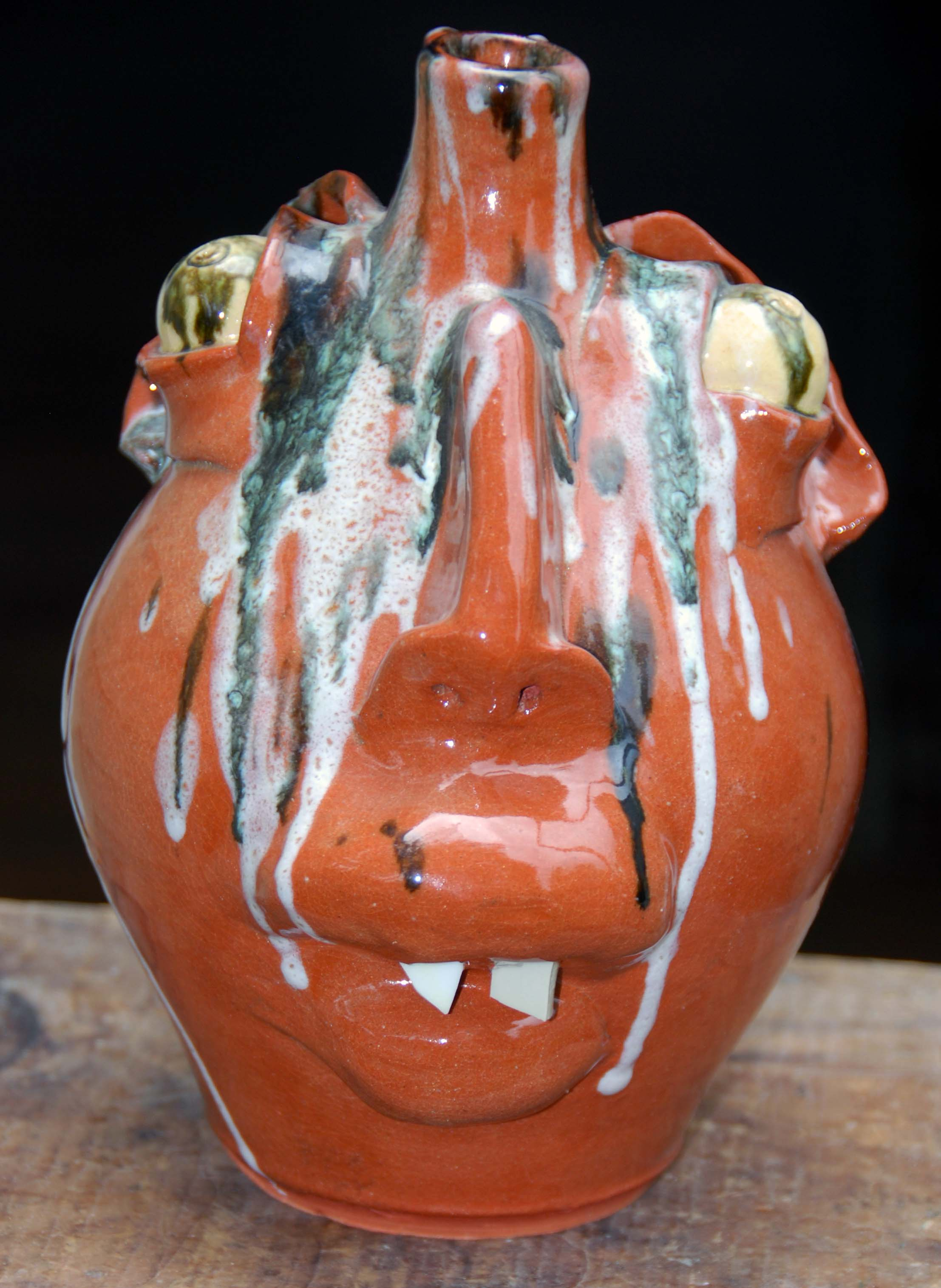 M.L. Owen - Face Jug With Glass Runs - 8 inches