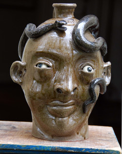 Marvin Bailey -Face Jug With Snake - 10 inches