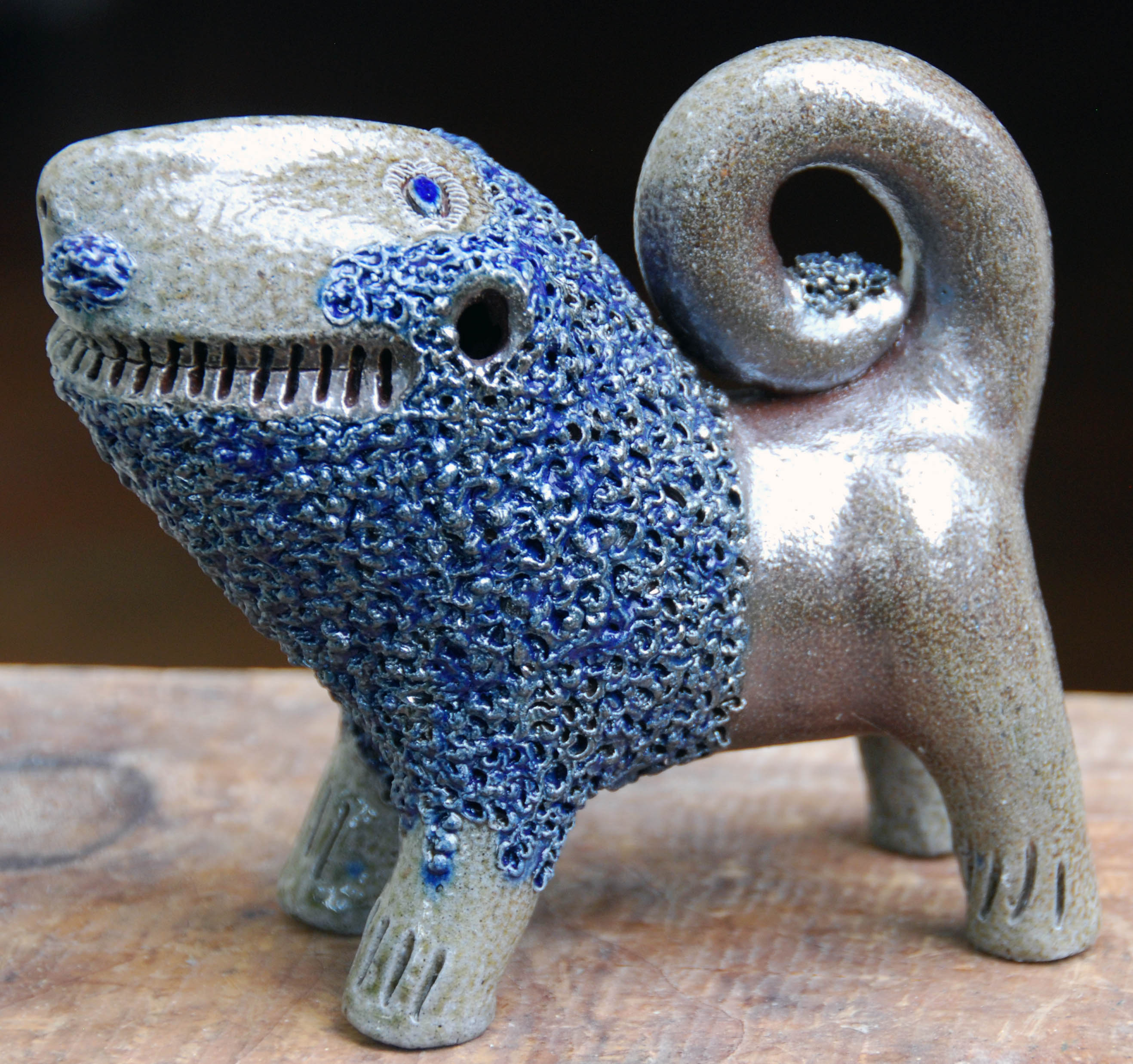 Billy Ray Hussey - Salt Glaze Lion - 6.5 x 6 inches