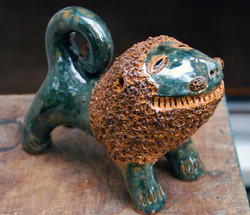 Billy Ray Hussey - Green Lion - 7 x 6 inches