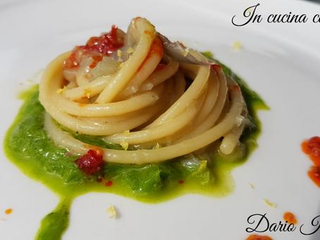 In cucina con Furchì wine: Spaghetti al cipollotto di Tropea Igp n'duja e scorza di limone