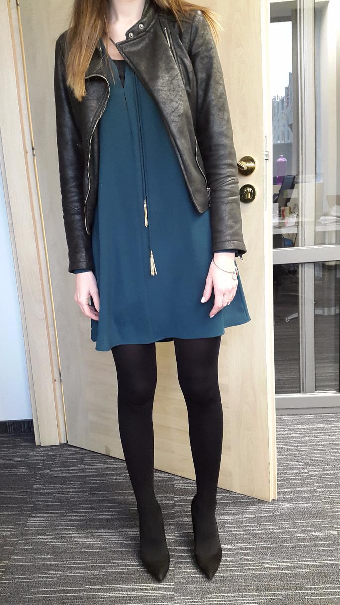 Dress under the leather jacket