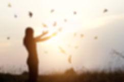 Freedom of life, free bird and woman enj