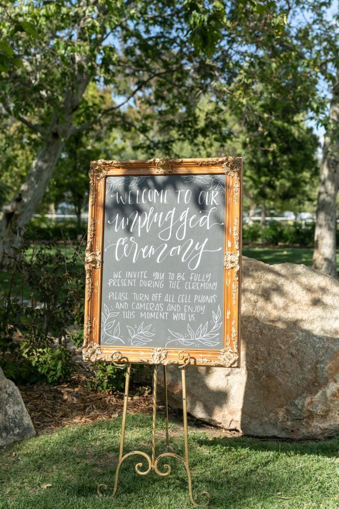Unplugged Ceremony Chalkboard