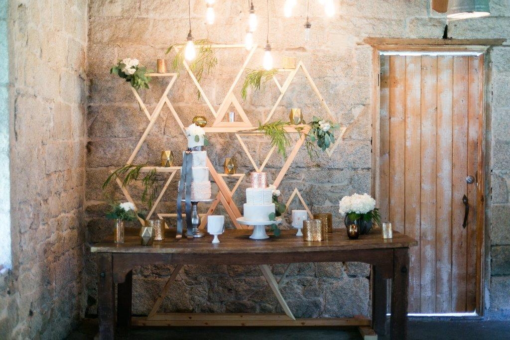 Geometric Triangle Wood Backdrop