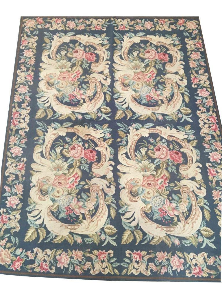 Blue Floral Needlepoint Area Rug