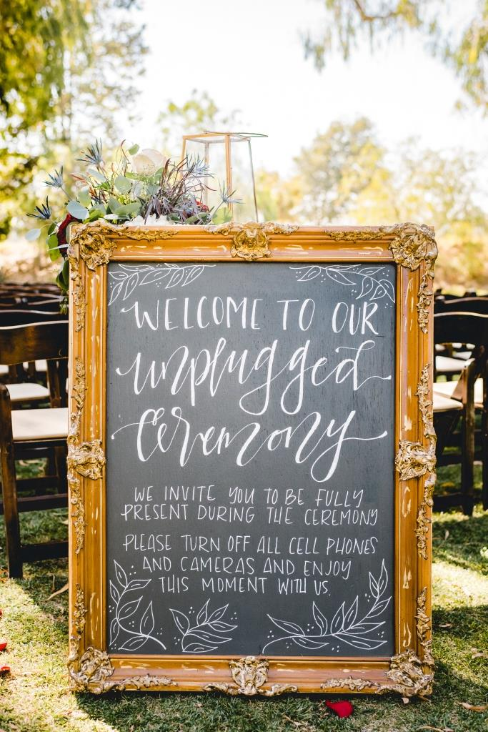 Unplugged Ceremony Chalkboard