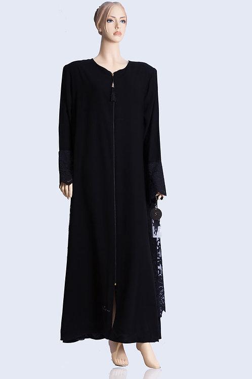 שמלה ארוכה מעוצבת בד כמשי עם ריצ'רץ' מקדימה