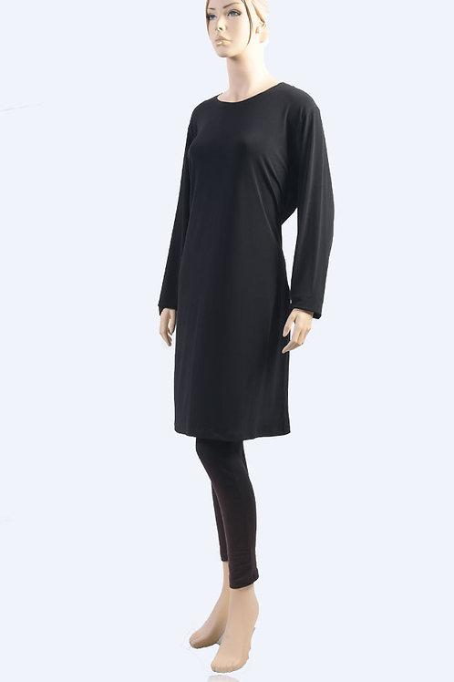 שמלת בסיס קצרה שרוול ארוך