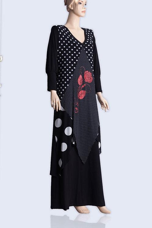 שמלה פרחונית שרוול ארוך