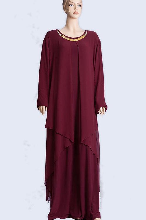 שמלה בצבע אדום בורדו עם צוור מוזהב
