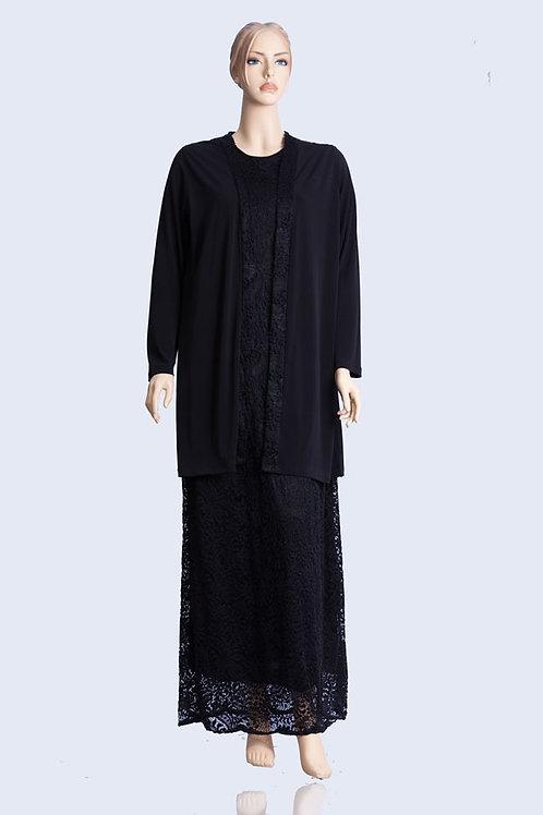 שמלת תחרה שחורה ארוכה