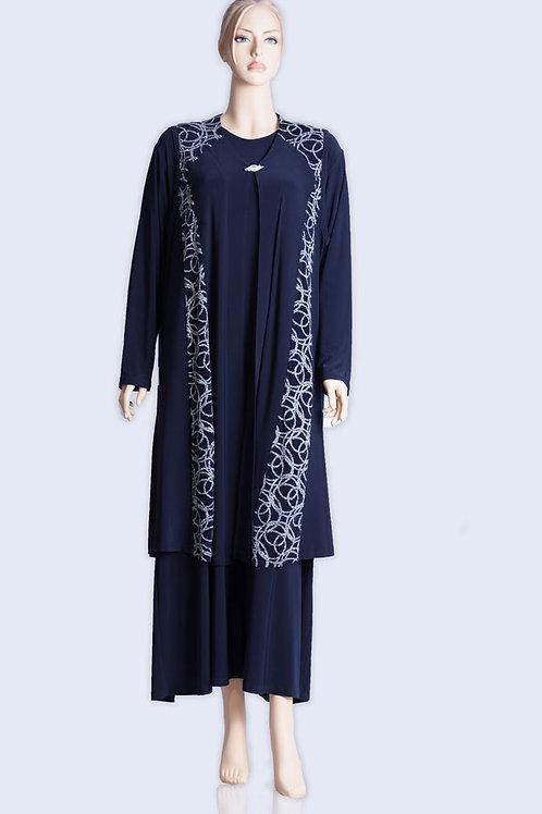 שמלה ארוכה כחולה עם עליונית ניצוץ קל