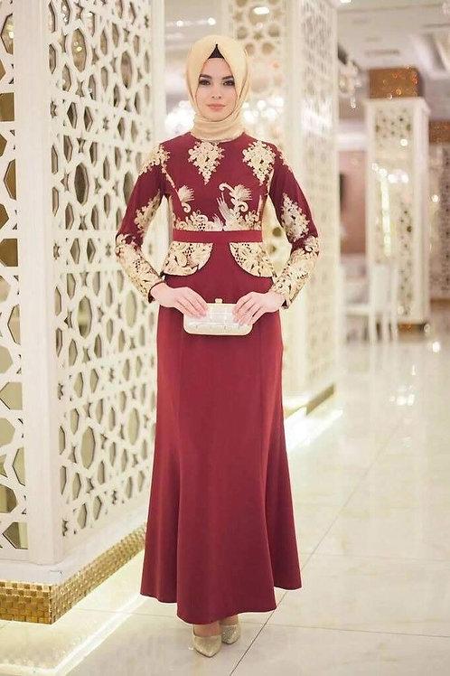 שמלה בורדו אלגנטית מעוצבת בצבע
