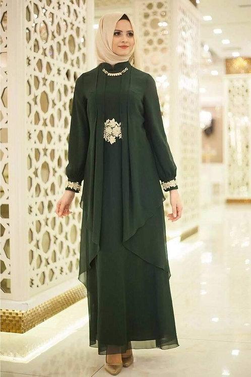 שמלה שיפון מעוצבת בצבע ירוק