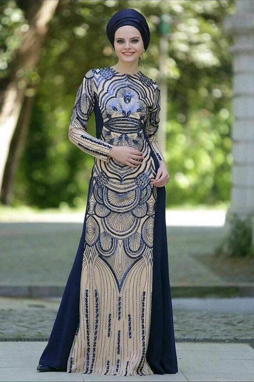 שמלה מעוצבת בצבע כחול