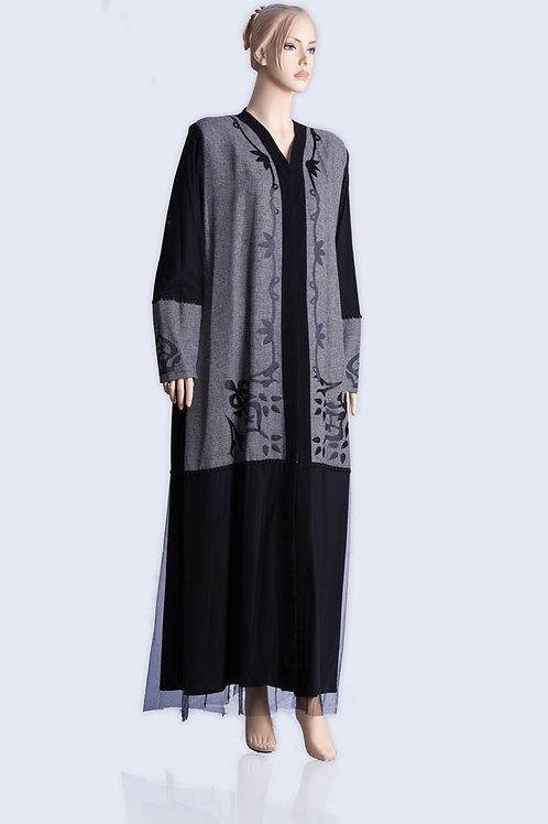 שמלת מעבר ארוכה מעוצבת עם תחרה בצבע אפור שחור