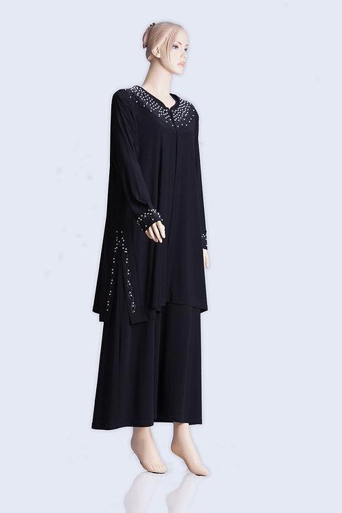 שמלת פנינים שחורה ועדינה