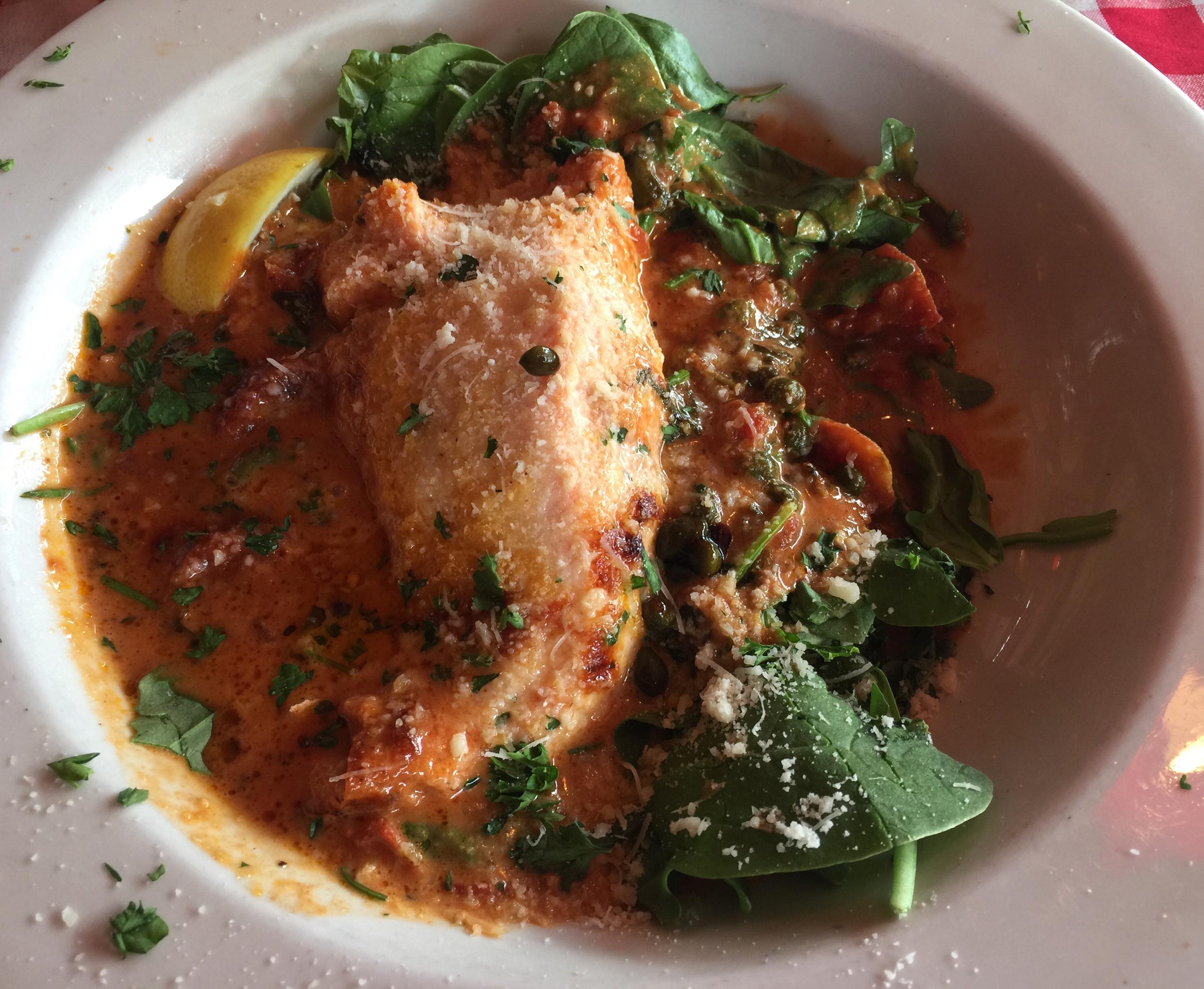 Off-Menu Parmesan Salmon - Pasta Jays Bo
