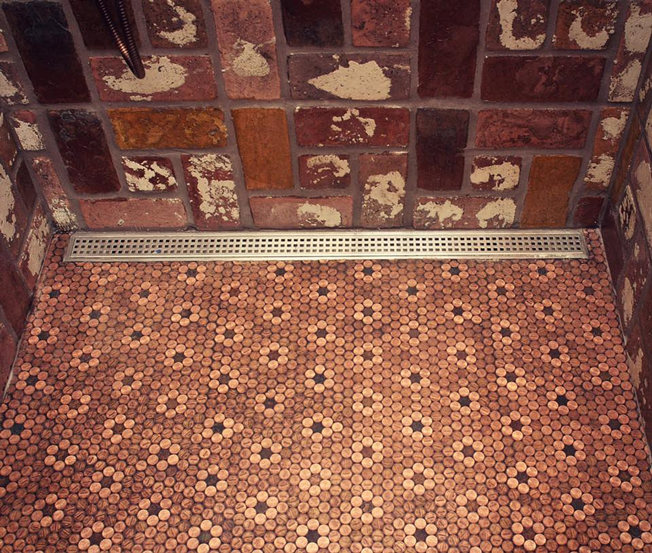 Floret Style Real Penny Tile On Mesh
