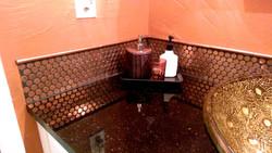 real penny tile backsplash