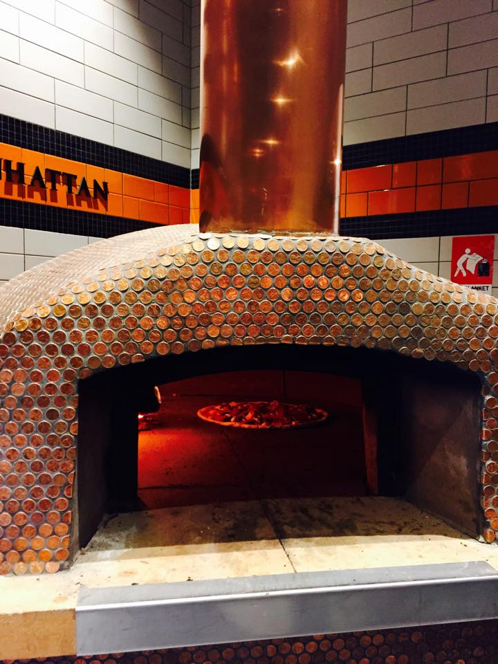 real penny tile on pizza oven