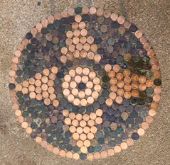4-pt star real penny tile
