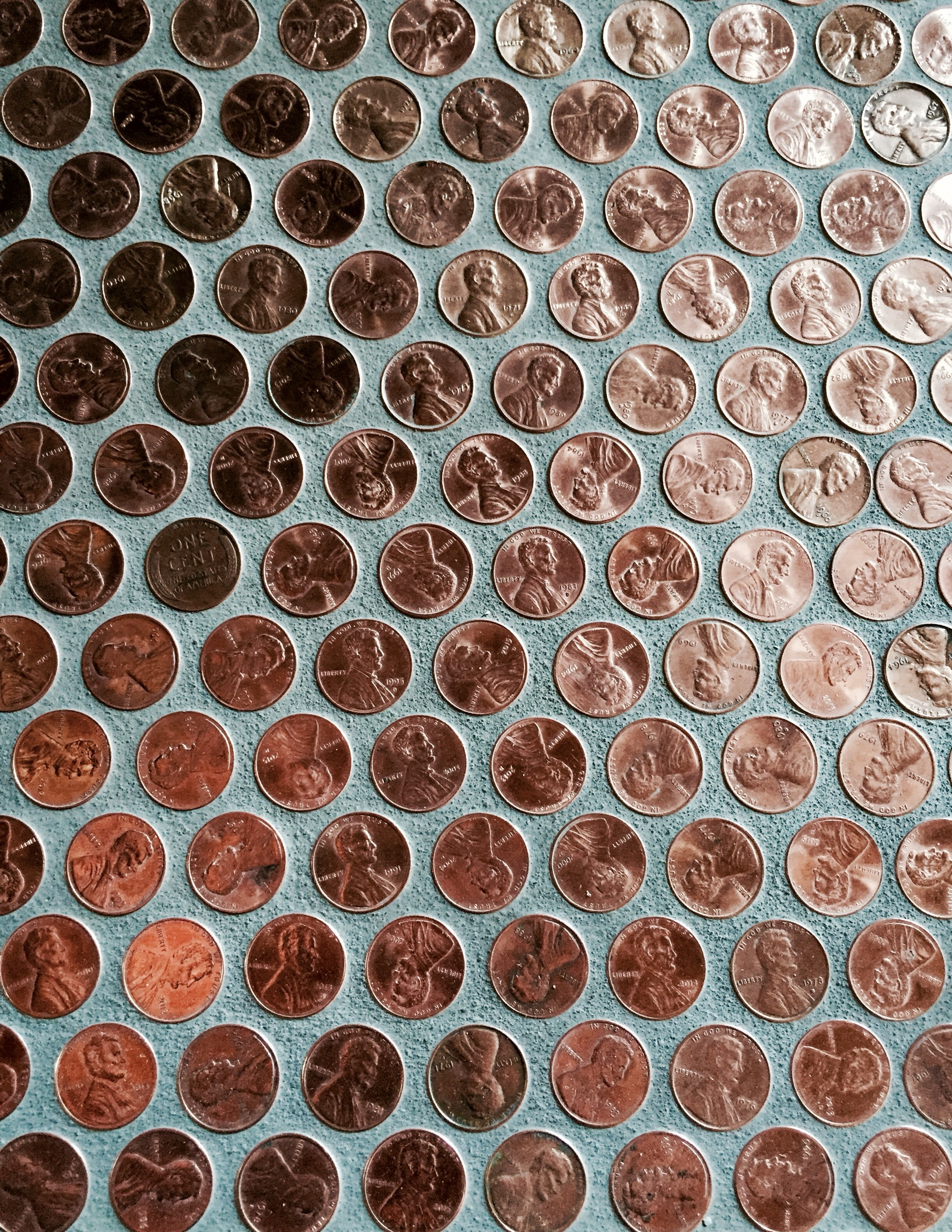 order pre-made penny tile on mesh