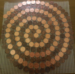 custom real penny tile on mesh
