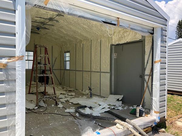 Spray foam Metal building