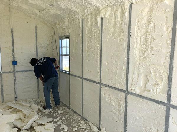 Metal storage building foam insulation