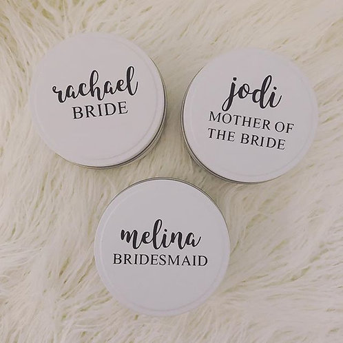 Personalised Bridal Party Candle Tins
